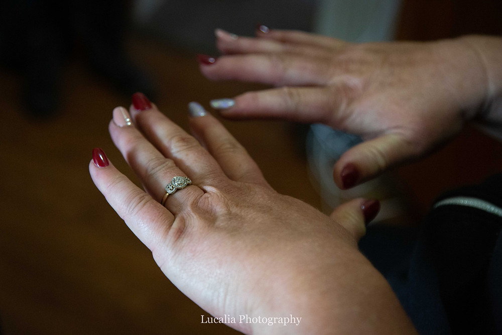 bride with multicoloured painted nails and engagement ring, Wairarapa wedding photographer