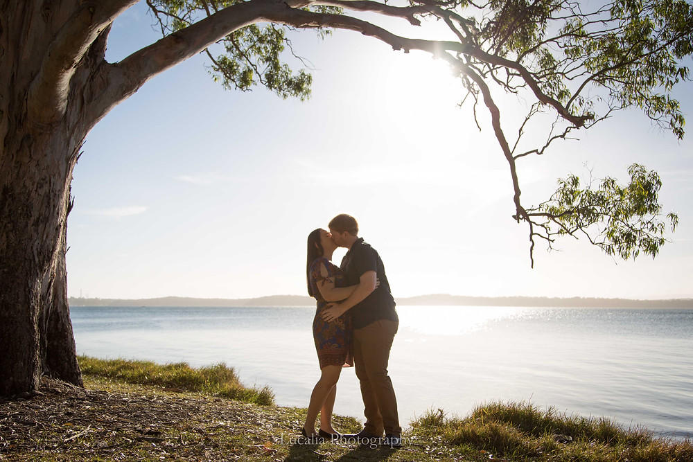 engaged couple kissing underneath a tree at sunset on the shores of a lake, Wairarapa