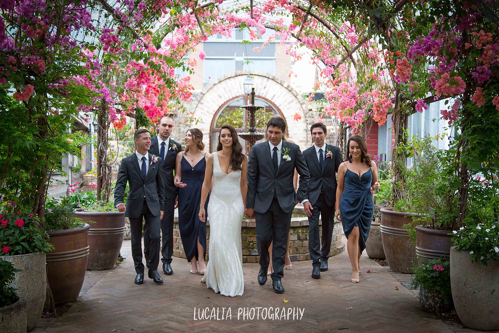 wedding party walking under arch of pink flowers, Wairarapa wedding photographer