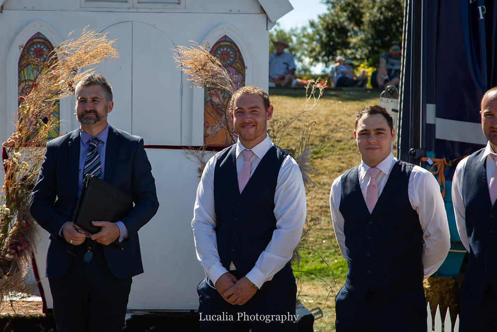 marriage celebrant Chris Hinch and the groom sees his bride coming down the aisle, Wairarapa