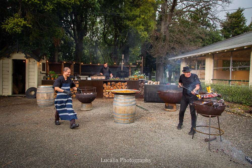 wood fired cooking outside Rose & Smith at Tauherenikau Wairarapa wedding venue