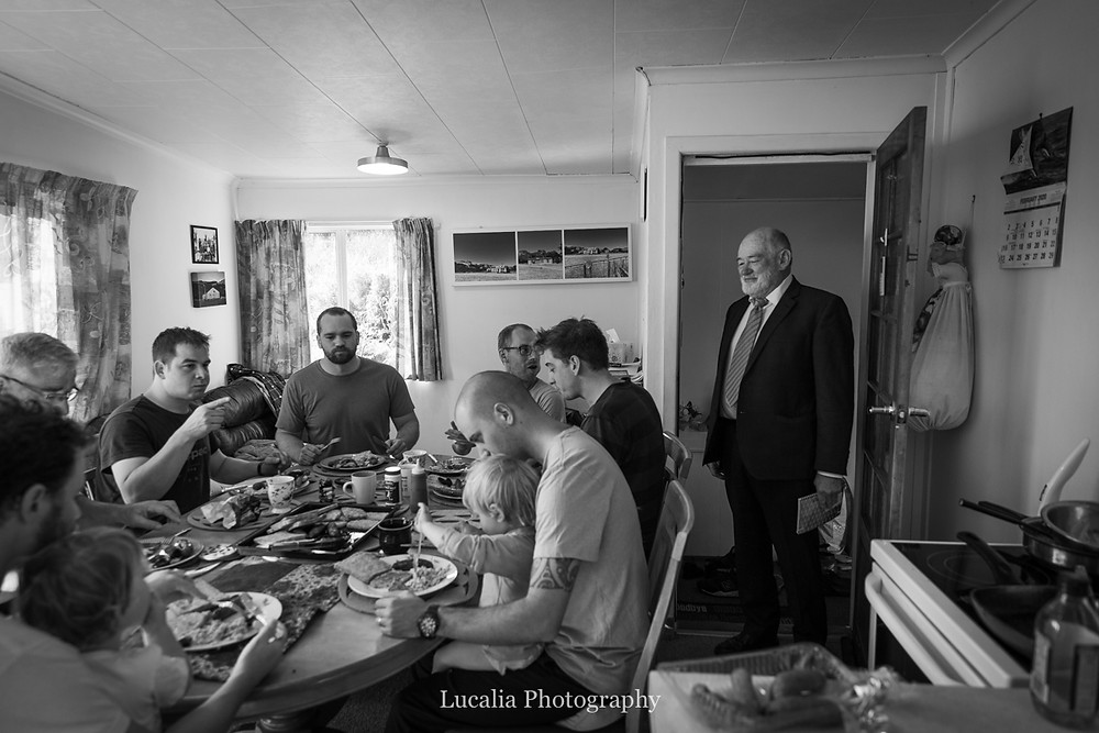 groom, family and friends getting ready breakfast, Wairarapa wedding photographers