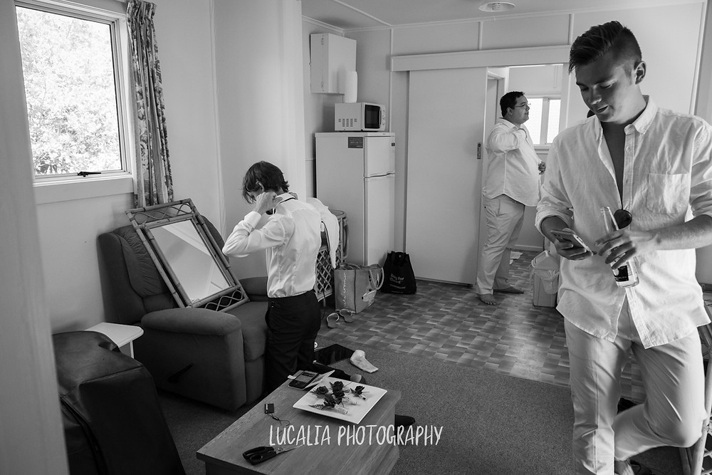 groom, best man, groomsmen getting ready, Castlepoint Wairarapa wedding, Lucalia Photography