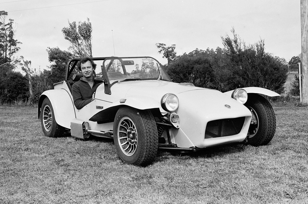 Nick Lockyer sitting in his Lucalia clubman car