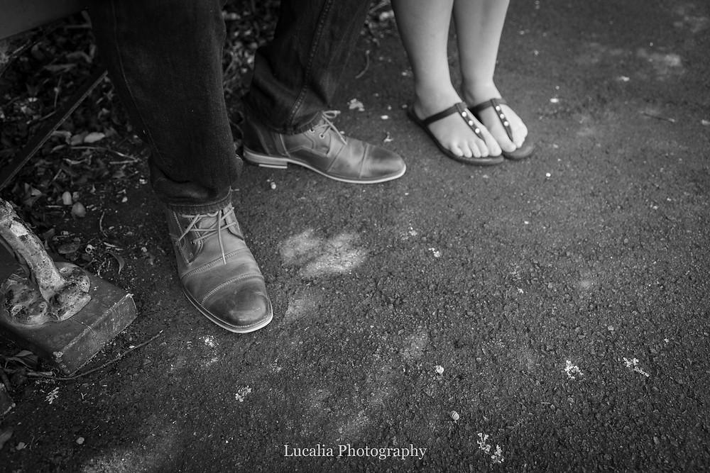 engaged couple's feet, Zealandia, Wellington