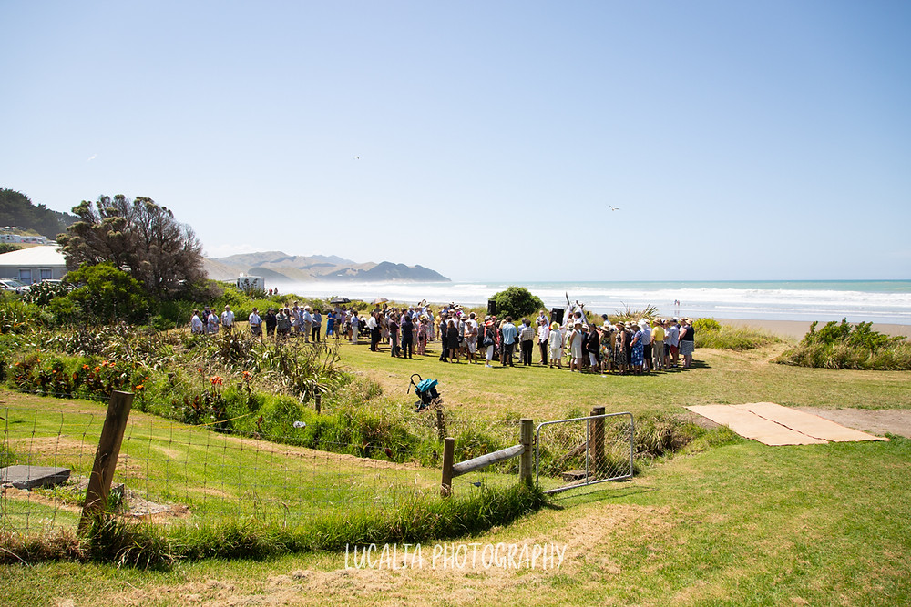 guests assemble at the wedding ceremony, Castlepoint Wairarapa wedding, Lucalia Photography