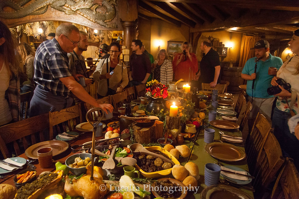 Evening banquet tour the Green Dragon Inn at Hobbiton on our New Zealand honeymoon