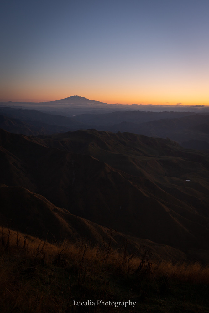 just before sunrise over mount ruapehu from High Peaks Farm Stay, Mangamahu, Manawatu-Wanganui, New Zealand