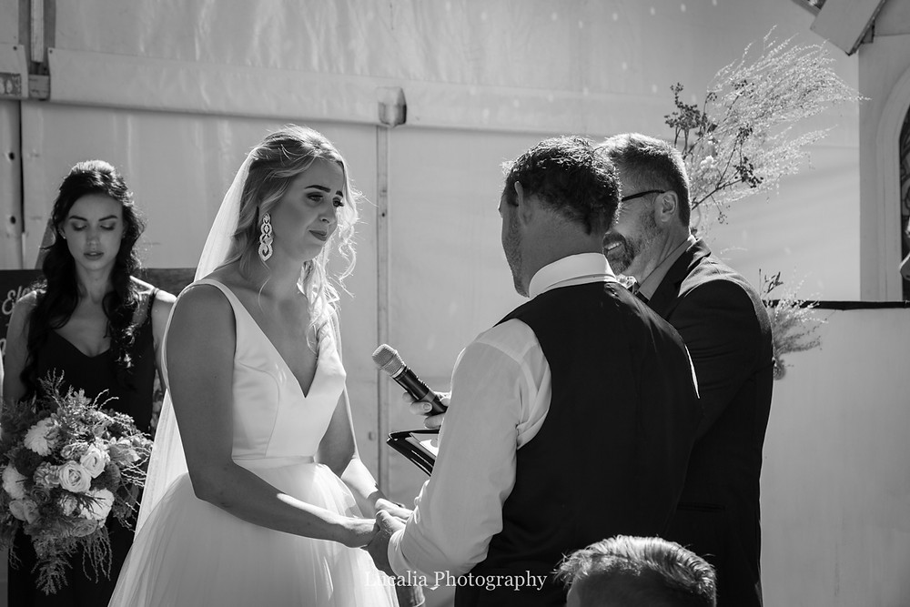 emotional bride during wedding ceremony, Wairarapa