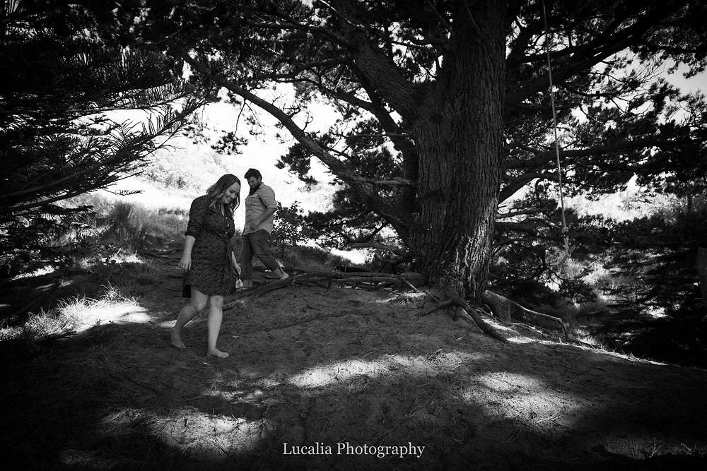 engaged couple walking down a hill in a pine forest, Castlepoint Wairarapa