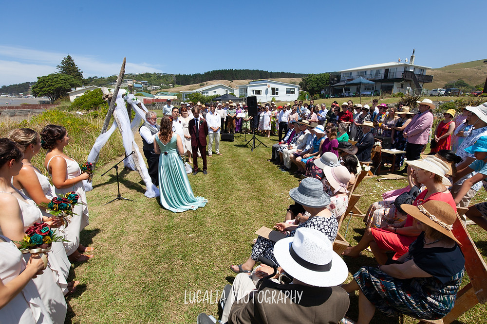 Castlepoint wedding with guests and choir, Wairarapa wedding, Lucalia Photography