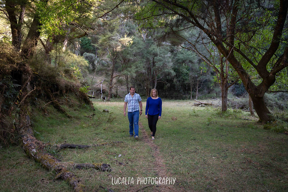 couple walking through forest, Martinborough Wairarapa wedding photographer