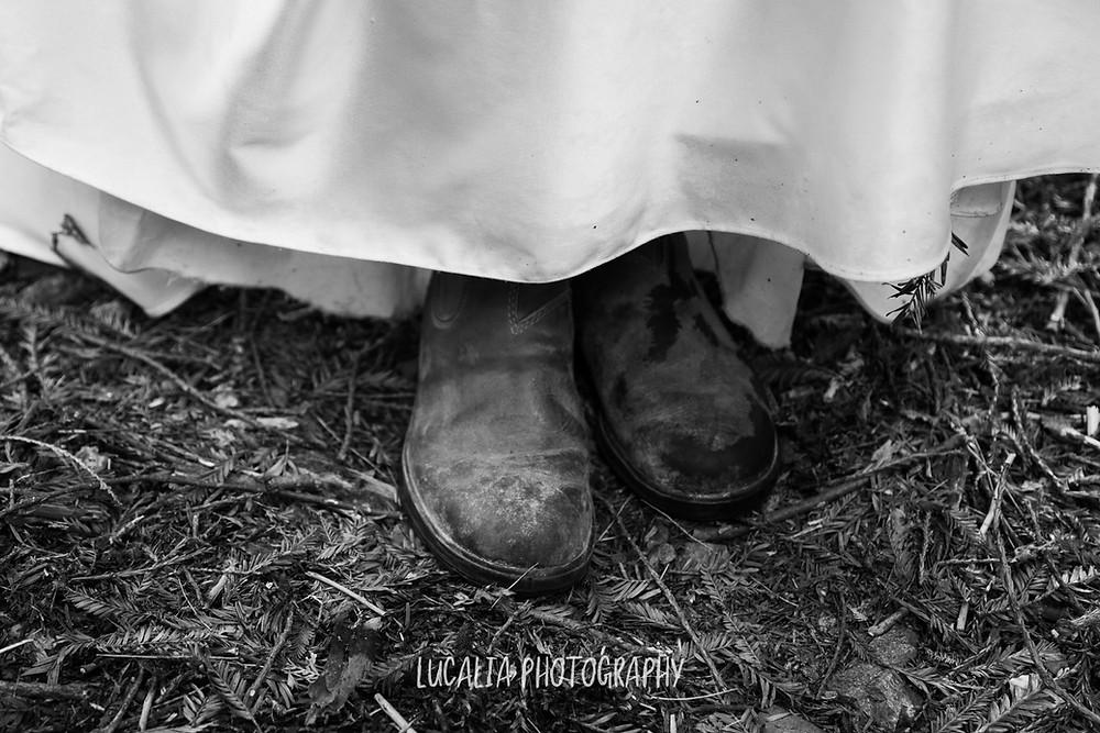 Blunstone boots with wedding dress hem in a forest, Kiriwhakapapa Wairarapa wedding photographer