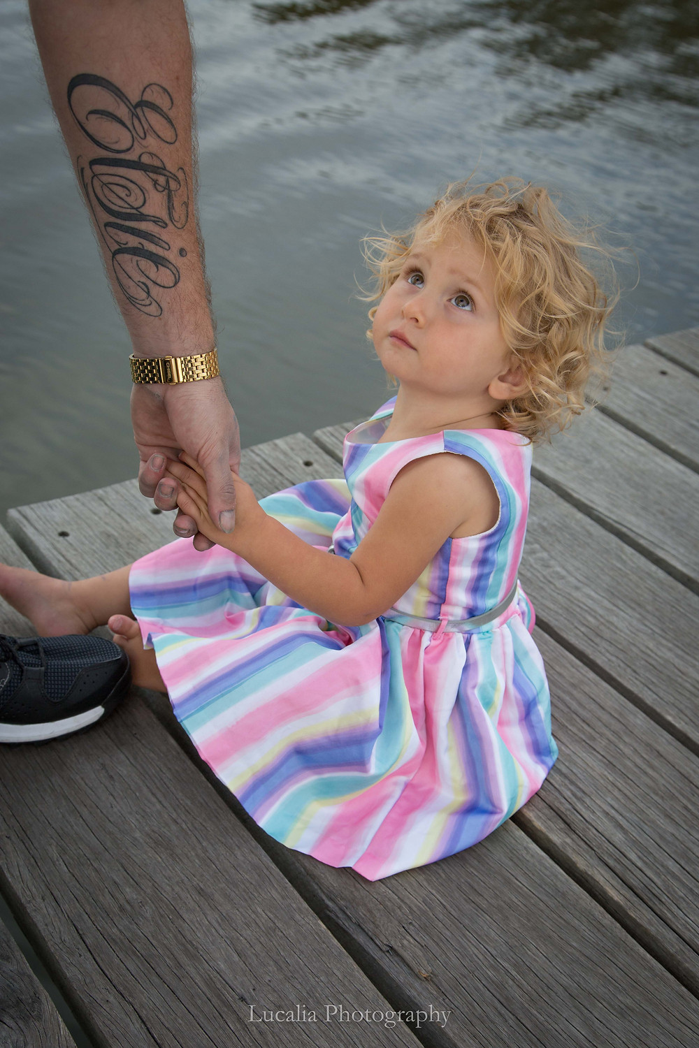 daddy and daughter portrait pink dress tattoo