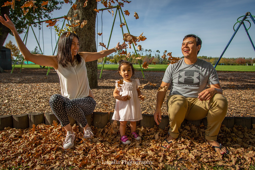 family playing with Autumn leaves, Carterton, Wairarapa family photographer