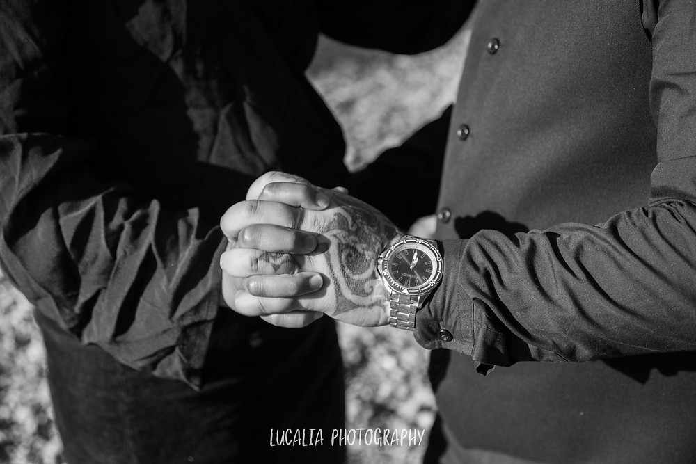 detail of engaged couple clasping hands, Wairarapa wedding photographer
