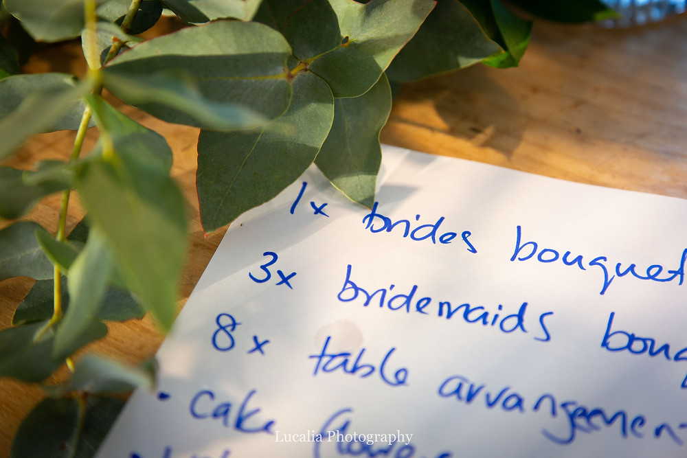 handwritten list of wedding flowers with gum leaves, Wairarapa