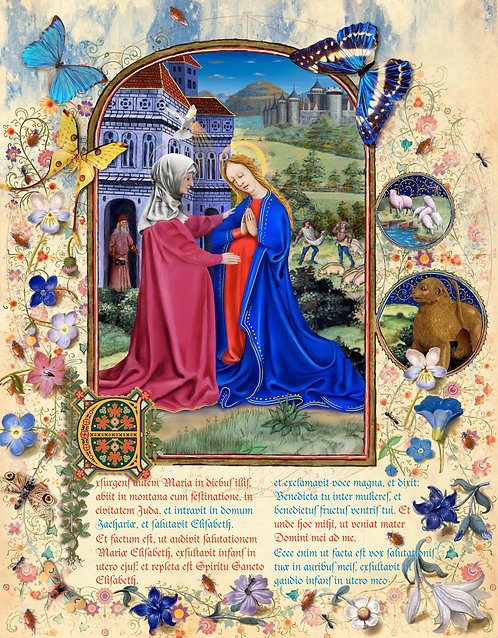 Mary Visits Elizabeth, illumination manuscript print, by Capio Lumen