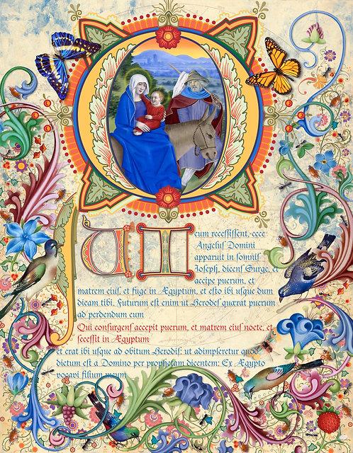Flight To Egypt, illumination manuscript print, by Capio Lumen