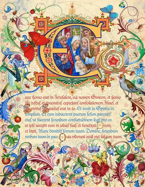 Feast of the Presentation, illumination manuscript print, by Capio Lumen
