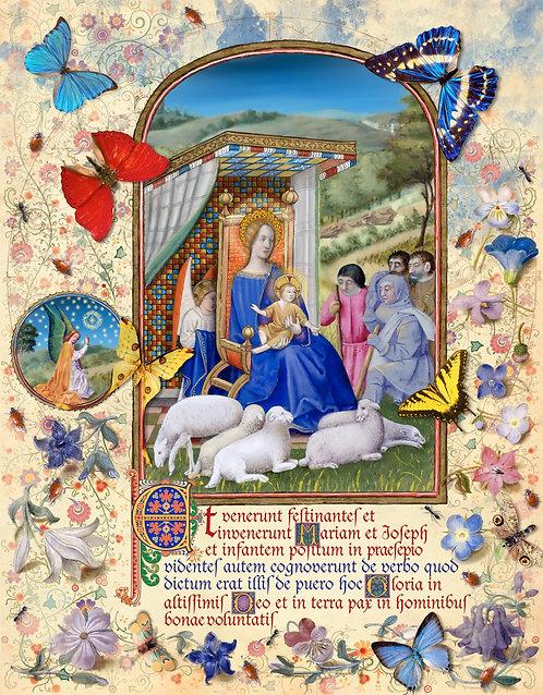 Shepherds in field, illumination manuscript print, by Capio Lumen