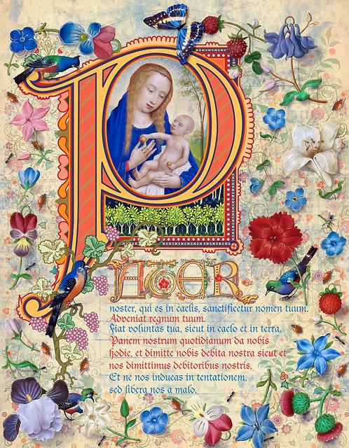 The Lord's Prayer, illumination manuscript print, by Capio Lumen