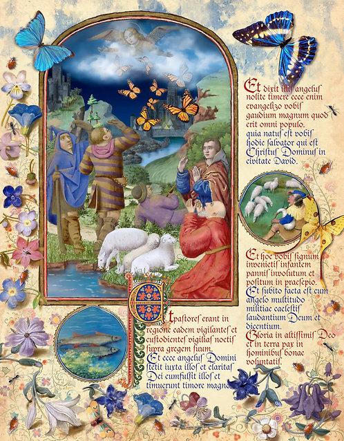 Glory To God, illumination manuscript print, by Capio Lumen