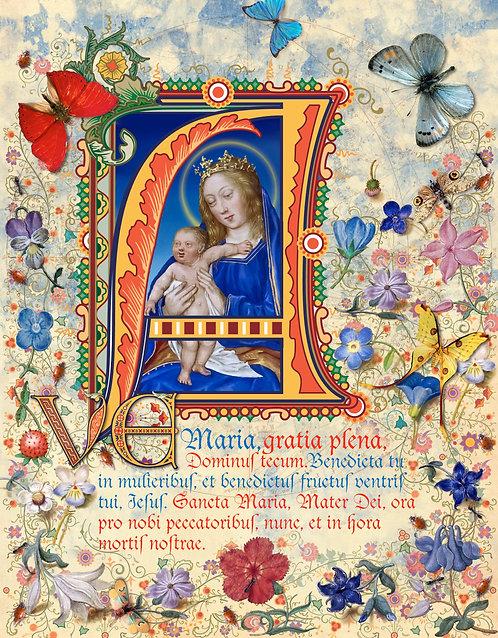 Ave Maria, illumination manuscript print, by Capio Lumen