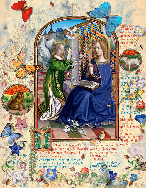 The Annunciation, illumination manuscript print, by Capio Lumen
