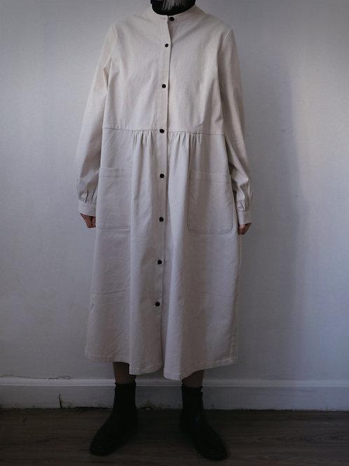 wool cotton beige dress