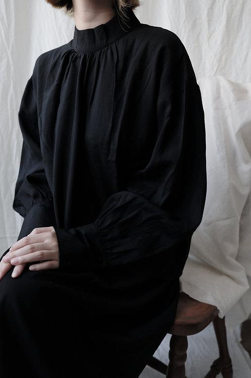 stand collar shirt Black