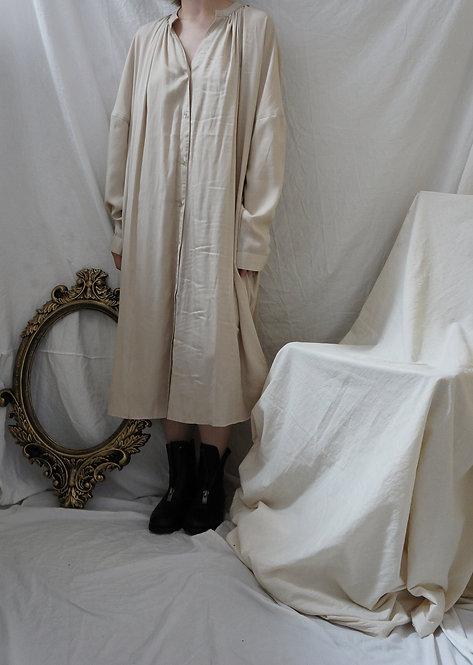 silk linen shirt dress BEIGE