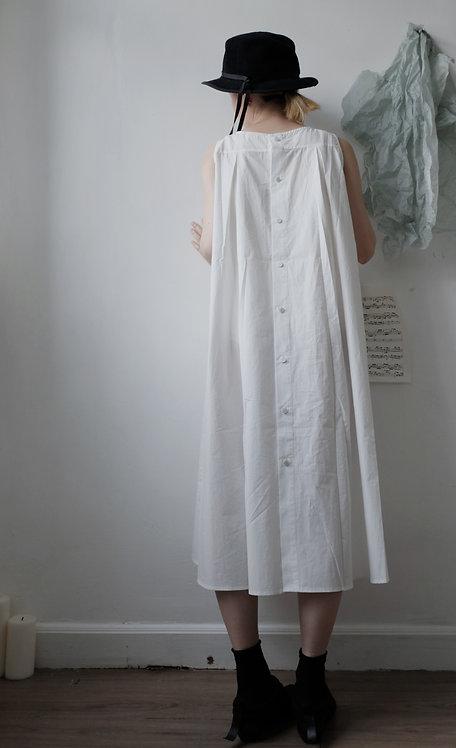 sleeveless cotton dress ivory white