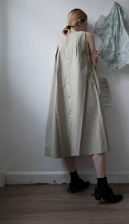 sleeveless cotton dress bean green