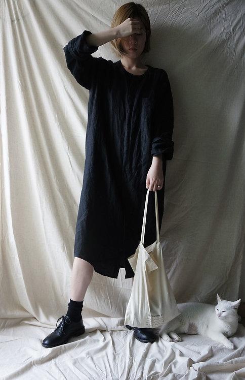 linen long shirt Black