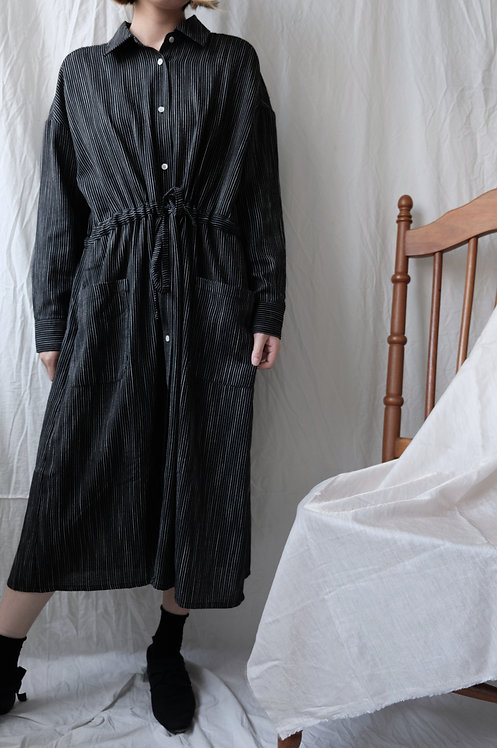 cotton linen gathering dress Black