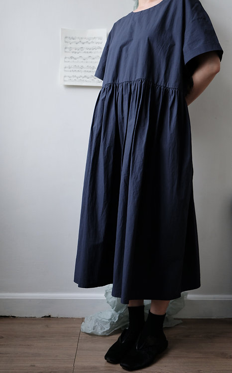 pleated cotton dress deep blue