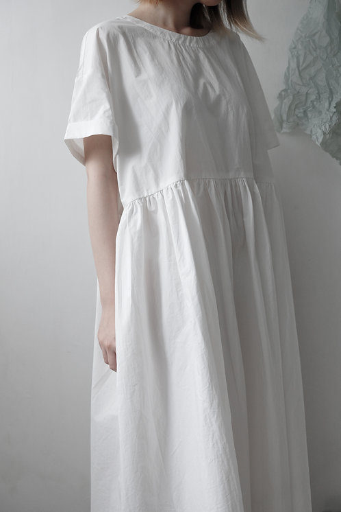 pleated cotton dress ivory white