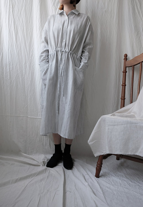 cotton linen gathering dress White