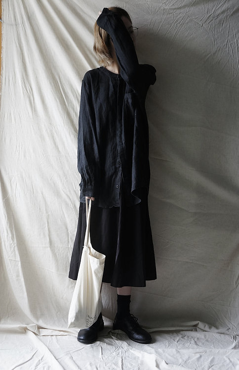 linen short shirt Black