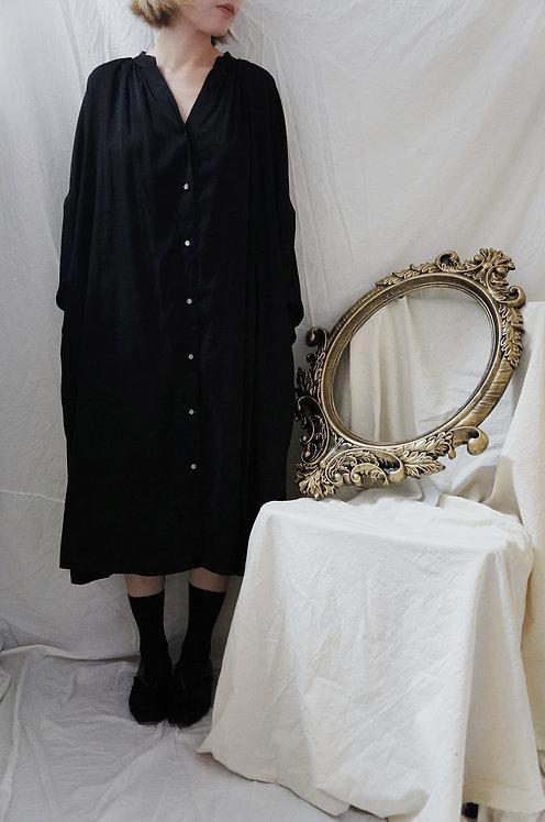 silk linen shirt dress BLACK