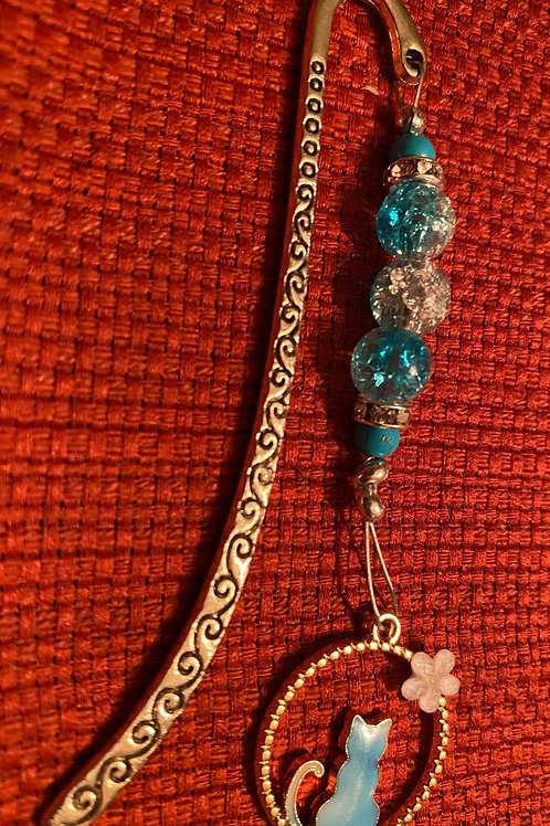 Blue or Pink perched cat hook bookmark