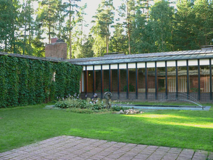 The courtyard of the Town Hall at Saynatsalo, Finland designed by Alvar Aalto.