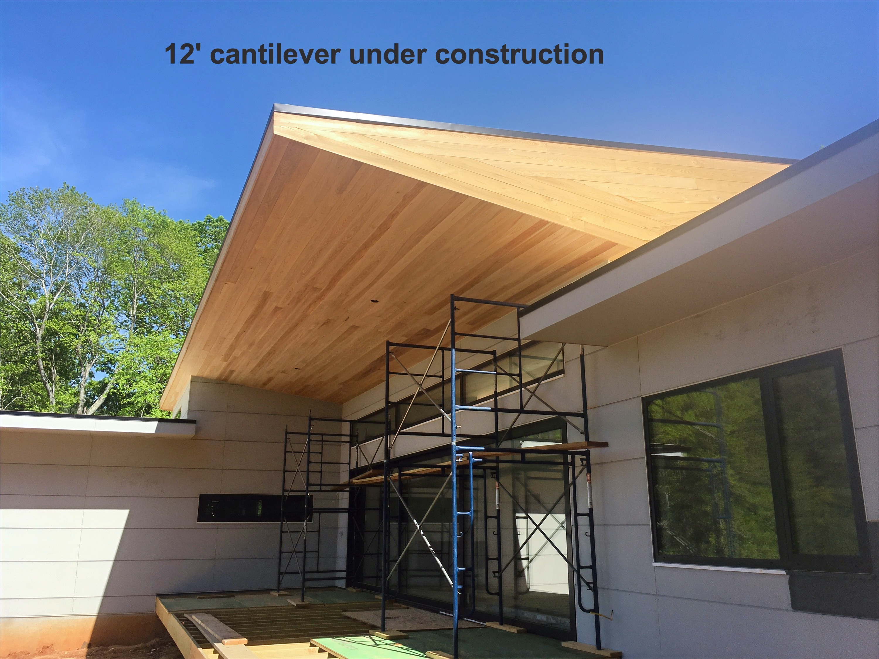12' cantilever roof over the deck