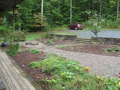 Before:  the view from the porch is a sea of gravel.