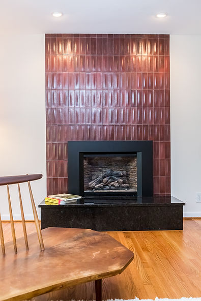 After: the new fireplace surround with customized tile.