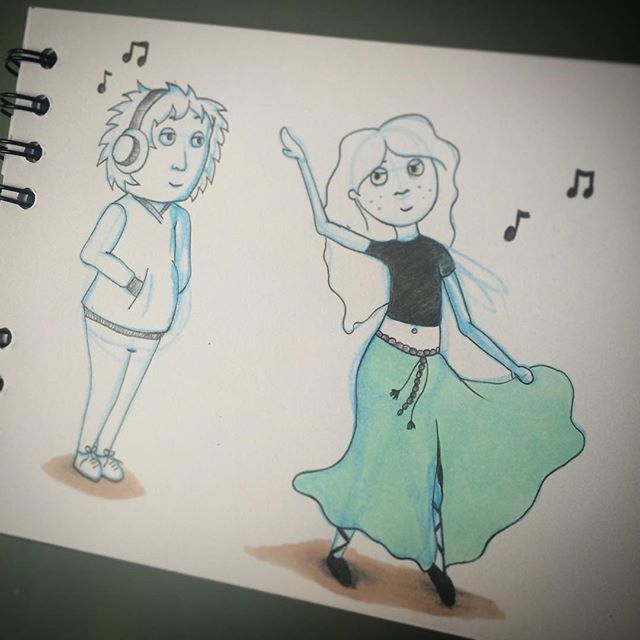 #attitude #natalieannillustration #dancing #music #artisan #sketchbook #doodle #studiospace #thatsan