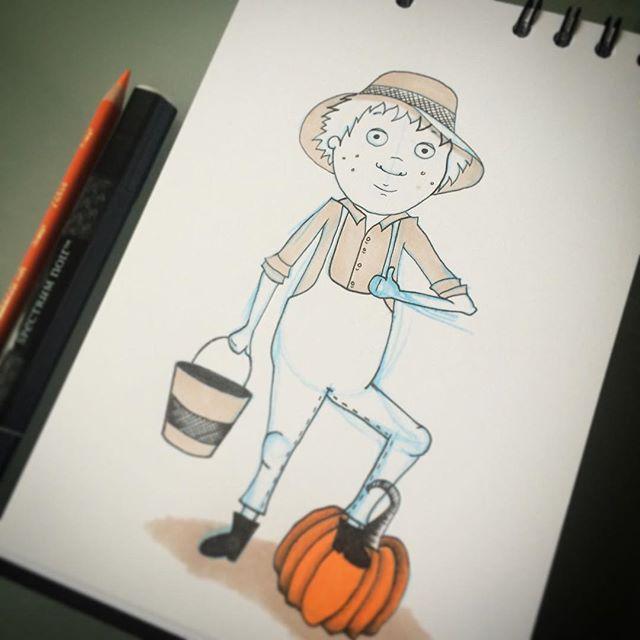 #farmer #autumn #natalieannillustration #pumpkin #halloween #childrensbooks #thatsanicehat #prismaco