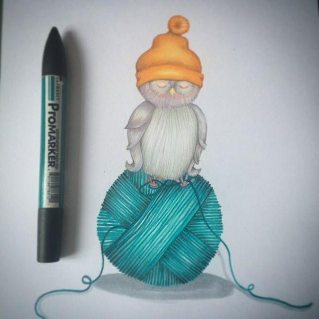 That's a nice hat! #natalieannillustration #hats #owls #illustrationgram #studiospace #doodle