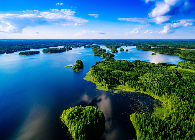 Aerial top view of blue lakes with islan